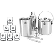 King International 100% Stainless Steel 100% Bar Set | Bar Tools | Bar Accessories Set Of 11 Pieces Includes 6 Whisky Glasses | Ice Bucket | Tong |Cocktail Shaker | Peg Measurer | Wine Cooler |