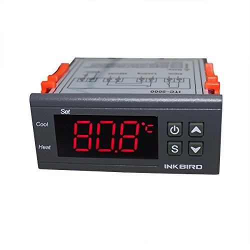 Inkbird ITC-2000 220V Digitaler Temperaturregler Thermostat Heizung Kühlung Kalibrierung Steuerung über Sonde mit Sensor, 1Relais 1Ausgang Alarm
