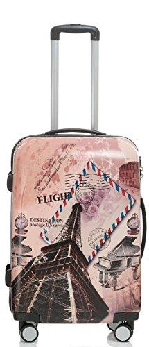 Reise Koffer Trolley mit Polycarbonat ABS Hartschale und Motiv BB (3: 70 Liter - Gr. L, Eiffelturm)