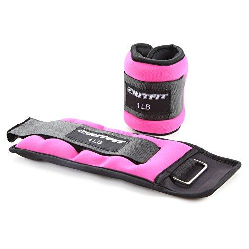 Ritfit - 1 coppia di pesi per caviglia e polso, con cinghia regolabile per braccio, mano e gamba, ideale per camminata, jogging, ginnastica, aerobica, red
