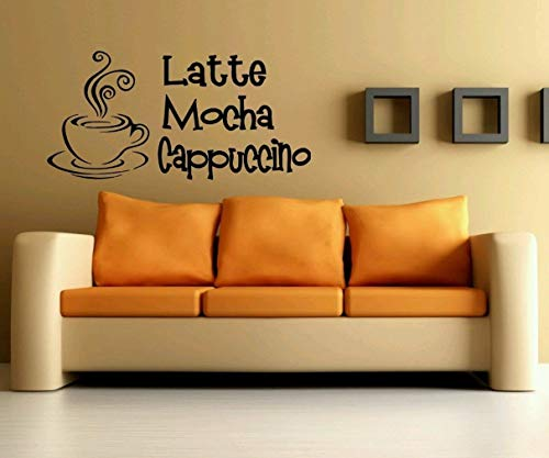 Wandtattoo Wohnzimmer Wandkunst Aufkleber Wandbild Dekor Kunst Kaffee Zitat Latte Mokka für Café Coffee Shop -
