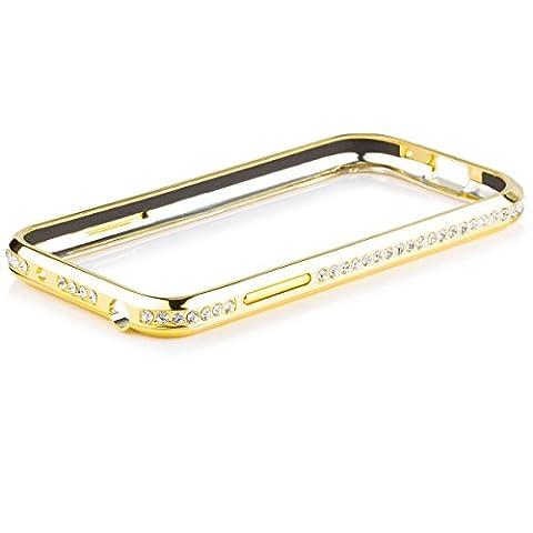 iCues Samsung Galaxy S4 MINI   Alu Strass Bumper Gold   [Display Schutzfolie Inklusive] Strass Glitzer Glitter Luxus Bling Damen Frauen Mädchen Chrome CNC Aluminium Metall Metallic Schutzhülle Hülle Cover