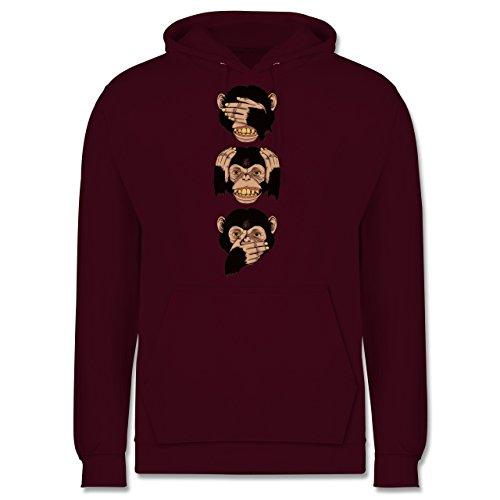 Statement Shirts - Drei Affen - Sanzaru - Männer Premium Kapuzenpullover / Hoodie Burgundrot