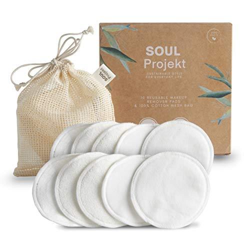 Scopri offerta per Soul Projekt 10 x Dischetti struccanti riutilizzabili Bambù Cotone Lavabili Morbide Cuscinetti per struccare in Fibra di Bambù e Carbone Eco Bio Zero Waste
