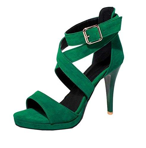 XiuHong Shop PU Nubukleder hochhackigen Damen Sandalen Große Yards Grün