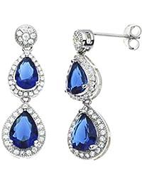 500083d3a294 Pendientes de plata de ley 925 con zafiro sintético y diamante