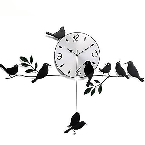 ZUIZU Birds Wall Clocks Pastoral Style Fashion Irons Living Room Walls Clocks Birds Swing Clocks Watches 70 * 55 * 23cm