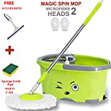 Hugo Magic Spin Mop Bucket/Microfibre Cleaning Mop/Microfibre Mop Head/Magic Floor Cleaning Mop Pocha/Double Drive Hand Pressure Stainless Steel Rod Mop with Free Microfiber Mop Refills - Multicolor
