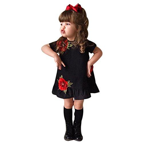 JYJM Kleinkind Mädchen Rose Floral Festzug Prinzessin Party Kleid (Size:3 Jahre, Schwarz)
