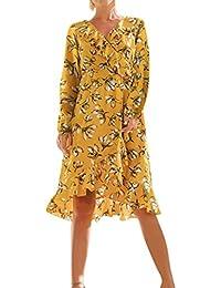 9f89f5bdd64f1 BANGGG Femme Manches Longues col en V Imprimé Floral Volants de Levage de  Tour de Taille élastique Jaune Robe Longueur au Genou…