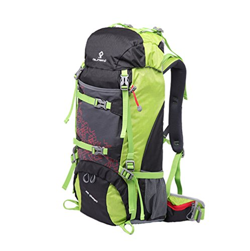 greeenlan Sport all' aria aperta 50L impermeabile Zaino da escursionismo arrampicata alpinismo borsa da viaggio zaino da trekking con parapioggia, Gl-810, Black, 50 l Green