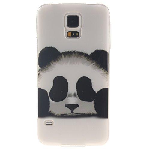 Coque Samsung Galaxy S5, Téléphone étui pour Samsung Galaxy S5, Anlike Flexible protection en Soft TPU Silicone Shell Etui Housse de Protection Coque Etui Silicone Transparente housse etui case cover pour Samsung Galaxy S5 (5,1 pouces) - Panda