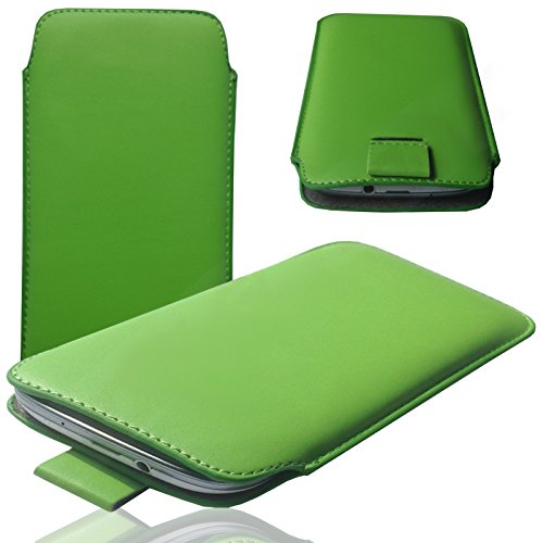 MOELECTRONIX 1K GRÜN Slim Cover Case Schutz Hülle Pull UP Etui Smartphone Tasche passend für Samsung Galaxy A40 1 Pack Slim Case