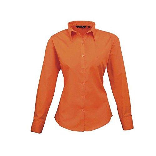 Premier Workwear Ladies Poplin Long Sleeve Blouse, Camicia Donna Arancione