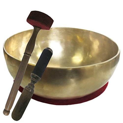 Therapieklangschale 1100-1300g Klangschale Handarbeit (Nepal) | 4-tlg. Klangmassage-Set GROSSE HERZSCHALE 20-22 cm mit DUNKLEM TON + Kissen + Reibeklöppel + Filz-Therapieklöppel | 70220-3