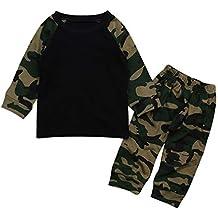 YanHoo Baby Long Sleeve Camo 2 Piezas Set Recién Nacido bebé niño Ropa Camuflaje Camiseta Tops