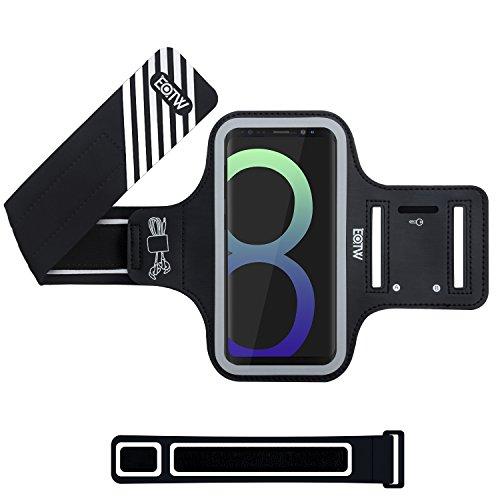EOTW Brassard Sport pour Samsung Galaxy S8, Brassard téléphone avec espace pour cartes, clés, argent & écouteurs, Bon Maintien pour de Course, Jogging, Vélo, Pêche (Noir, 5.8')