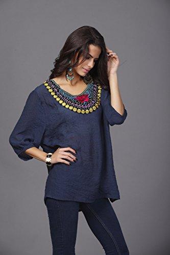 QIYUN.Z Les Femmes En Coton a Manches 3/4 O-Cou Broderie Collier Melangent Shirt Loose Blouse Bleu fonce