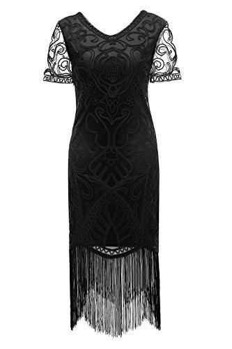 Metme Frauen 1920er Jahre Formale Abend Fringe Kleider Geflochtenes Seil Art Deco Spitze Bodycon Cocktail Flapper ()