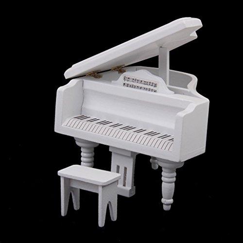 Tfxwerws novità 1: 12casa delle bambole in miniatura in legno pianoforte e sgabello (bianco)