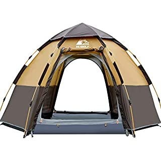 Hewolf Pop Up Tent for 3 to 4 Person Automatic Opening Hexangular Hydraulic Double Layer Tent - Ultra Large Waterproof Dome Tent with Porch - 100% UV Protected Family Camping Tents with Carrying Bag