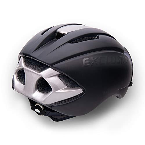Exclusky Fahrradhelm Fahrrad Erwachsene Fahrrad Helme 57 – 61 cm mit Brille (black) - 6