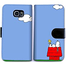 Custom Funda Samsung Galaxy S6 Flip Wallet Case,snoopy Leather Cover Case for Funda Samsung Galaxy S6 B8R6PIA