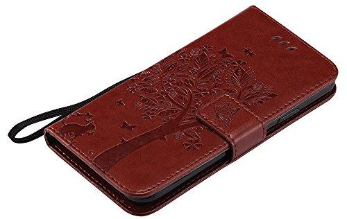 Coque Iphone X Edition, Iphone X Case, Iphone X Coque, Iphone X Protection, Coque Iphone 10 euros, Nnopbeclik® à Rabat Fonction Wallet/Portefeuille en Bonne Qualité PU Cuir Etui (5.8 Pouces) Cover de  marron