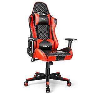 INTEY Gaming Stuhl, Racing Stuhl, ergonomischer Computerstuhl, Kunstleder Bürostuhl, Gamer Stuhl mit 3D verstellbaren Armlehnen, PC Stuhl mit Wippfunktion 160° (Rot)