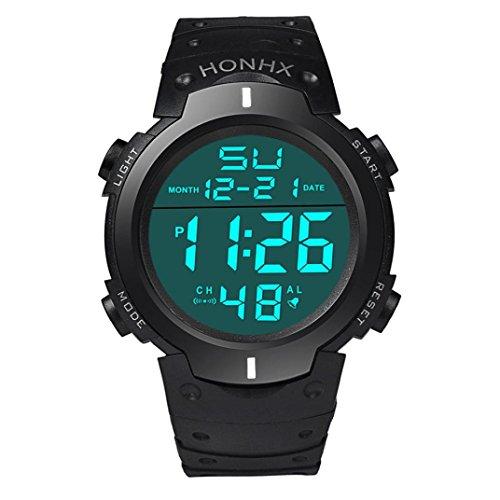 Hansee Uhr, Art und Weise wasserdichte Männer Boy LCD Digital Stoppuhr Datum Gummi Sport Armbanduhr (Weiß)