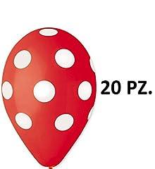 Idea Regalo - 20 PALLONI PALLONCINI in lattice ROSSI CON POIS BIANCHI - per addobbi feste, party, nascita, battesimo, compleanno KIT 1 CDC