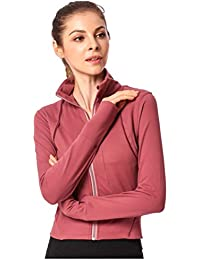 9d4188892a5ce Women Creative Fashion Yoga Jacket Long Sleeve Pure Color Gymnastics  Running Wear Costume