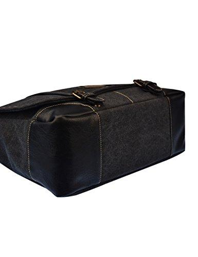 Douguyan Männer Damen Baumwoll Schultertasche Messenger Bag Reise Schule Schulter Tasche Aktentasche Arbeittasche Notebooktasche Canvas Teenager Herren Braun E00261 261-Schwarz