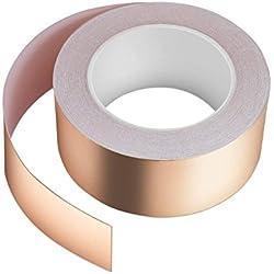Ruban de cuivre 30 m x 50 mm, vegena Cuivre 3 Band EMI Copper Foil Tape Cuivre Ruban Cuivre Cuivre Ruban autocollant adhésif anti-limaces en escargot Protection