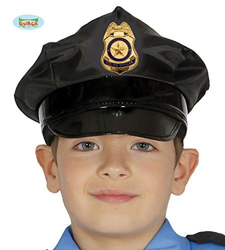 Guirca Schwarze Polizeimütze Hut für Kinder Polizei Mütze Karneval Fasching Polizist Mütze Cop
