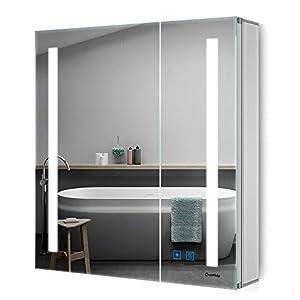 Quavikey LED Spiegelschrank 63x65cm(B*H) Badezimmer Spiegelschrank mit Beleuchtung Aluminium Lichtspiegelschrank…