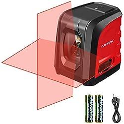 Niveau Laser Croix, Niveau Laser Autonivelant Laser Horizontal et Verticale, Laser Rouge, Support Pivotant Magnétique, IP54, et 2 Piles