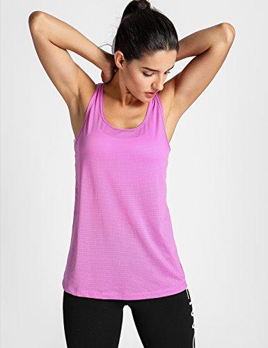 Meliwoo Donna Canotta Sportivo Top da Yoga Comfort Completo Purple