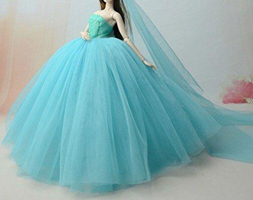 AK010 Abendkleider: Schöne und modische Handgefertigte Puppe Kleidung(Puppen nicht im Lieferumfang enthalten) (weiß 3) (Puppe 1991 Barbie)
