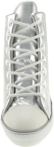 Fermeture Éclair arrière Maxstar 777–Wedge-chaussures à talons Argent - TC-Silver