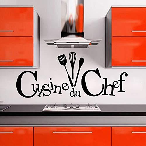 Cuisine Stickers Französische Wandaufkleber für Küchen Deko Aufkleber Wandposter Home Decoration XL 58cm X 141cm