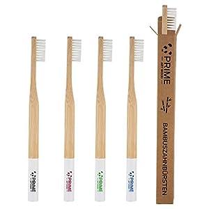 PRIME ART WOOD® 5er Pack Bambus Zahnbürsten aus nachhaltigem Bambus Holz |BPA-freie Zahnbürste (Vegan, umweltfreundlich, plastikfrei verpackt) Holzzahnbürste Mittel weiche Borsten für beste Sauberkeit