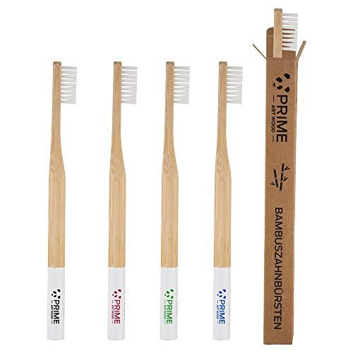 PRIME ART WOOD® Bambus Zahnbürste im 5er Set mit nachhaltigem Bambus Holz (Vegan, plastkfrei verpackt, umweltfreundlich) BPA-freie Zahnbürsten - Holzzahnbürste Bamboo toothbrush Härtegrad: Mittel