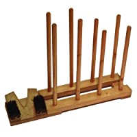 Brown Wooden Stained 4 Pair Welly Rack Storage Wellington Walking Boot Hold Stand Plus Welly Remover With Brushes