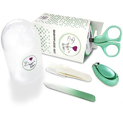 Babypflege Set mit Baby Nagelschere, Baby Nagelknipser, Glasnagelfeile und Nasenpinzette - in Sicherheitsbox