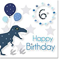 Jonathan Glick Designs 6th Birthday Card - T-Rex Dinosaur with Holographic Foil Number 6
