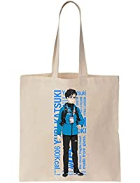 Yuri Katsuki Standing With Blue Jacket La bolsa de asas de la lona de algodón