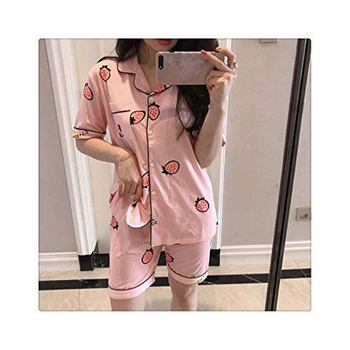Women Pajamas Sets Short Sleeve Satin Pajamas Set Two Pieces Set Women Sleepwear Sexy Nightwear Summer Pyjama Short Sleeve Pjs Duan caomei pink S (S Victoria Halloween Secret-models)