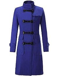 Blansdi femme manteau veste parka longue classique élégante vintage chaud  moulante en mélange de laine avec Déduction en cuir… 87856ce9661