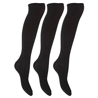 Womens Knee High Plain Casual Socks With LYCRA (Pack Of 3) (4-6) (Black)